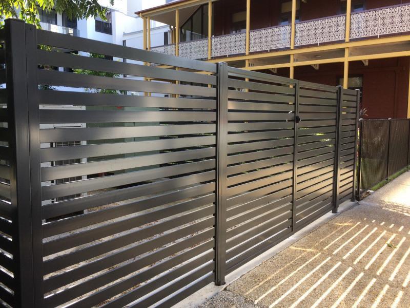 1x2 aluminum horizontal slat fence